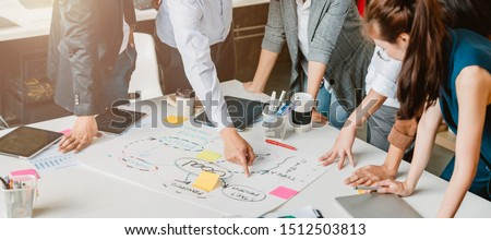 topview of creative agency business brain storm meeting presentation Team discussing roadmap to product launch, presentation, planning, strategy, new business development Royalty-Free Stock Photo #1512503813