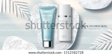Clear skincare product banner ads on marble stone and wooden table background with white paper leaves decorations in 3d illustration, flat lay perspective #1512582728