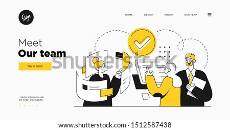 Presentation slide template or landing page website design. Business concept illustrations. Modern flat outline style. Teamwork concept Royalty-Free Stock Photo #1512587438