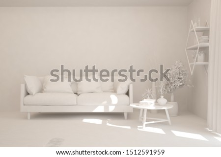 Mock up of stylish room in white color with sofa. Scandinavian interior design. 3D illustration #1512591959