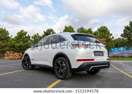ISTANBUL - SEPTEMBER 24, 2019: DS 7 Crossback is a compact luxury crossover SUV from the French automaker DS Automobiles. 1.5 BlueHDi engine it 130hp power produces. #1512594578