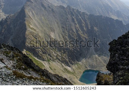 Mountain lake surrounded peaks in The Tatra Mountains, view from above  #1512605243