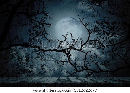Scary horror background with empty wooden planks. Spooky forest in full moon night.