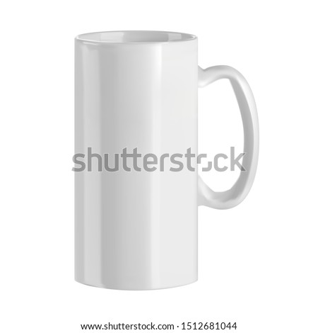 Vector realistic image of a beer mug. Illustration of a white ceramic cup. Element for your design. #1512681044