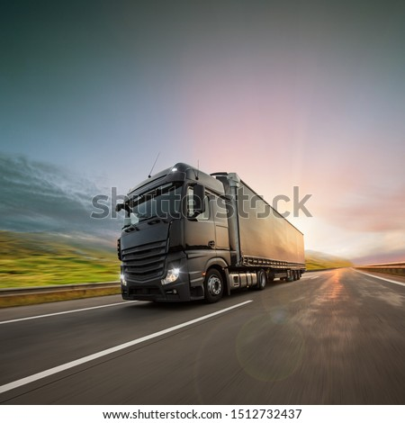 Truck with container on highway, cargo transportation concept. Shaving effect. #1512732437