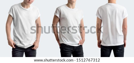 A set of three photos with a young pretty guy in a clean white t-shirt and black jeans on a white blank background in the studio. Rear and front view. Template can be use in your design. #1512767312