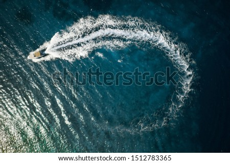 Speed boat in mediterranean sea, aerial view #1512783365