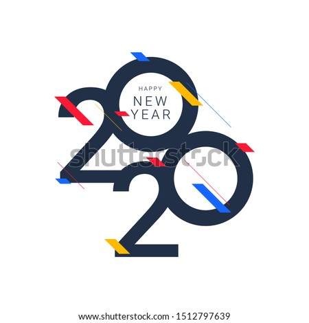 Happy new year 2020 design template. Design for calendar, greeting cards or print. #1512797639