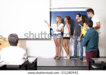 students making a presentation