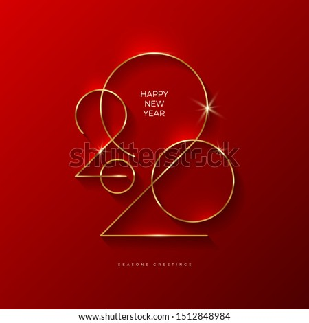 Golden 2020 New Year logo. Holiday greeting card. Vector illustration. Holiday design for greeting card, invitation, calendar, etc. #1512848984