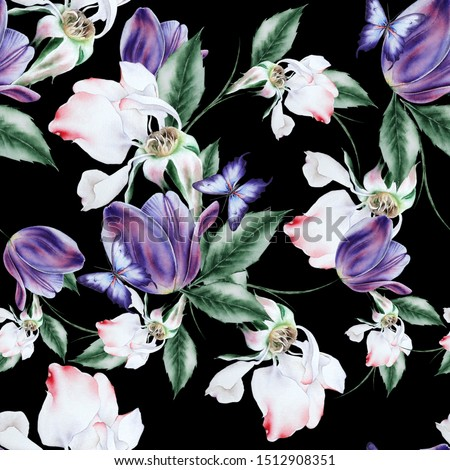 Bright seamless pattern with flowers. Rose. Tulip. Butterfly. Watercolor illustration. Hand drawn.