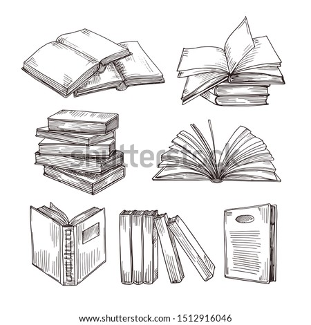 Sketch books. Ink drawing vintage open book and books pile. School education and library doodle symbols