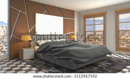 mock up poster frame in interior background. 3D Illustration. #1512967592