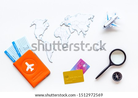 Planning a travel concept. Sketchy map of the world on white background top view #1512972569