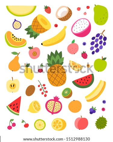 Fruit vector collection isolated on white background. Cute food fruits illustrations. Healthy eating and vegetarian set #1512988130
