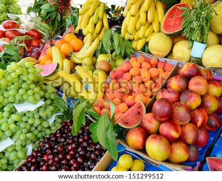 Fruits and vegetables at a farmers market  #151299512