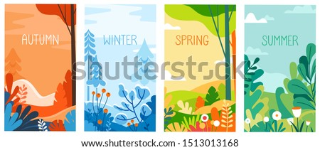 Vector illustration in flat simple style - seasonal vertical banners for social media stories wallpaper - autumn, winter, spring and summer landscapes with copy space for text Royalty-Free Stock Photo #1513013168