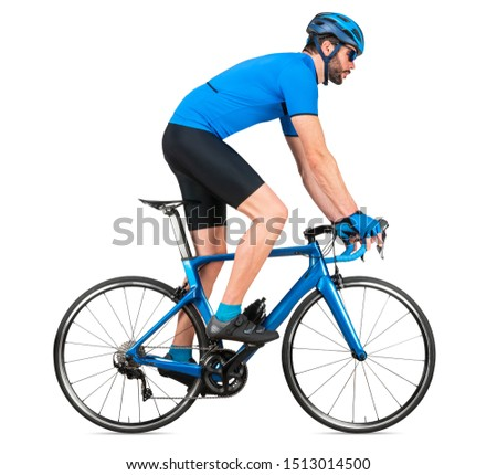 professional bicycle road racing cyclist racer  in blue sports jersey on light carbon race out of the saddle ascent uphill climbing position sport training cycling concept isolated on white background #1513014500