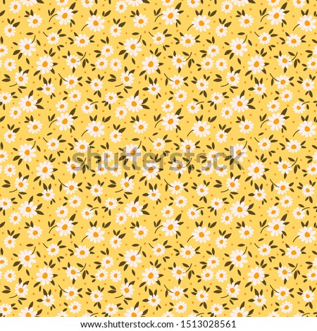 Cute floral pattern in the small flower. Ditsy print. Seamless vector texture. Elegant template for fashion prints. Printing with small white flowers. Pale yellow background. #1513028561