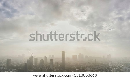panoramic landscape view of Bangkok city and skyscape that showing smog and polluted air pollution from particle PM2.5 #1513053668