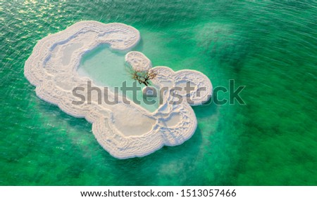 A beautiful and unique island off the shores of the Dead Sea, formed out of salt formations. An isolated tree still stands off the centre. Royalty-Free Stock Photo #1513057466