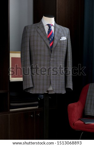 Bespoke checkered jacket in traditional technique of tailoring #1513068893