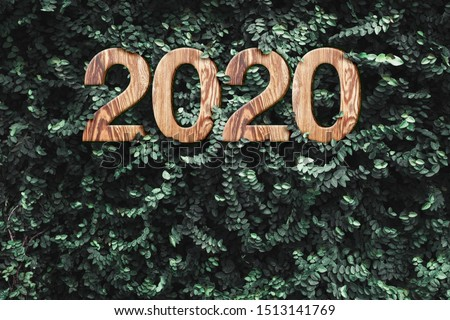 2020 happy new year wood texture number on Green leaves wall background,Nature eco concept,organic greeting card holiday.banner space for adding text #1513141769