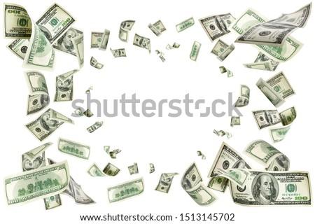American money. Money falling. Dollar sign. Cash background, us bill.  #1513145702
