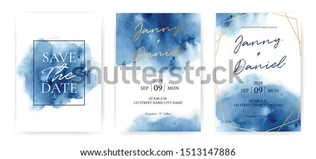 Wedding Invitation cards Navy blue Watercolor style collection design, Watercolor Texture Background, brochure, invitation template. Business identity style. Invite Vector. Royalty-Free Stock Photo #1513147886
