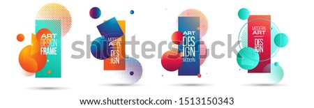 vector illustration. A minimalistic hipster colored frame design. Vector line gradient halftone. frame for text Modern Art graphics.  Royalty-Free Stock Photo #1513150343