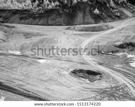 infrared photography over sand quarry, photo taken with specially modified infrared camera