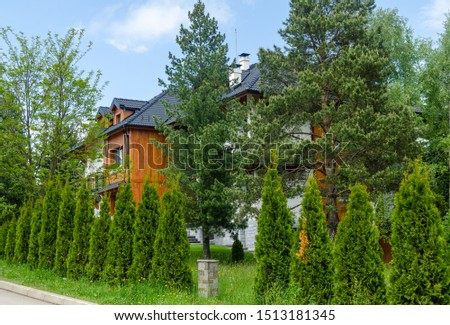 Real estate in a mountain style, surrounded by a lush garden, in spring #1513181345