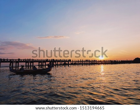 Sunset at U Bein Bridge, Myanmar #1513194665