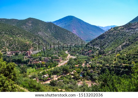 The Atlas Mountains of Morocco, Berber villages and riven with canyons and ravines within Toubkal National Park. #1513202036