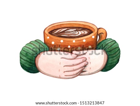 Hand drawn watercolor illustration of human hands in sweater holding polka dot patterned ceramic mug with coffee isolated on white. Hot drinks, latte art and cafe menu design elements