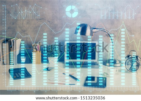 Double exposure of forex graph and work space with computer. Concept of international online trading. #1513235036