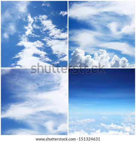 The four styles of blue sky with white clound background #151324631