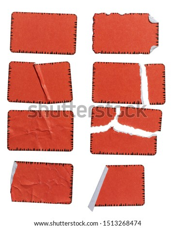 high res macro photo of cool set of red paper stickers isolated on white background with tears or snags and folds, matt crumpled stickers #1513268474