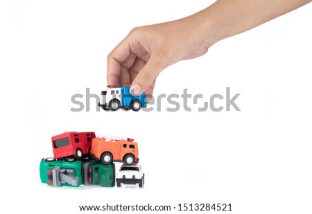 hand holding car toy kids isolated on a white background.