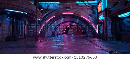 Photorealistic 3d illustration of the futuristic city in the style of cyberpunk. Empty street with neon lights. Beautiful night cityscape. Grunge urban landscape.