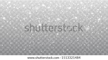 Seamless realistic falling snow or snowflakes. Isolated on transparent background - stock vector. #1513321484