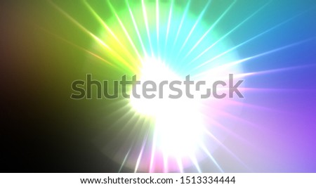 Dynamic moving burst of light. Beautiful shinning background of colorful lights. Vibrant energy display of a star with glowing light rays and particles. #1513334444