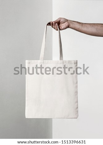 squared white tote fabric bag #1513396631