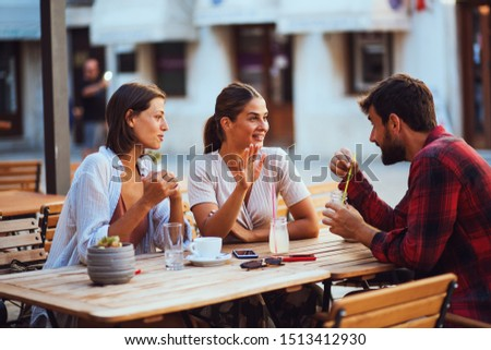 Group of friends enjoyed talking and drinking coffee together #1513412930