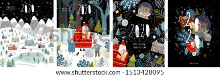 2020! Merry Christmas and a happy new year! Vector illustration with the congratulation of the coming year, night winter cityscape, family and children with santa claus and numbers 2020.  #1513428095