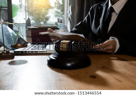 Justice and law concept. Lawyer businesswoman working on table office. #1513446554