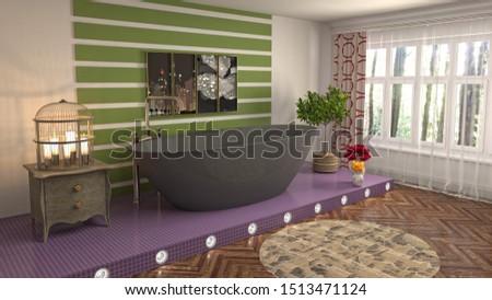 Bathroom interior. 3D illustration. Bath. #1513471124