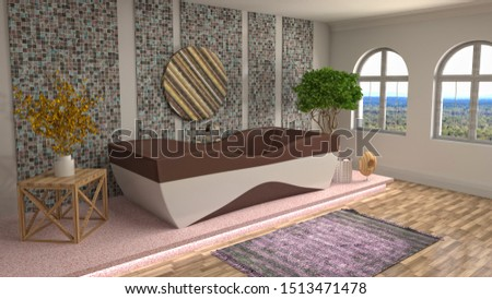 Bathroom interior. 3D illustration. Bath. #1513471478