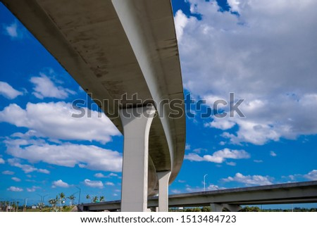 Under the Bridge at regular weekday. Blue sky with clouds. US Roads and Highways. I75 Ramp in Broward County. #1513484723