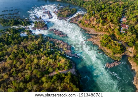"Aerial view of The Khone Falls and Pha Pheng Falls, waterfalls the "" Niagara of the Asia"", Champasak Southern Laos. Royalty high-quality free stock photo image of a beautiful waterfall"
